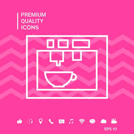 Coffee machine with smartphone tools icons on pink background vector illustration Illustration
