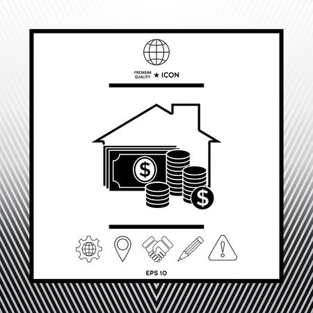 Home insurance icon in white square with black border, web app or icon. Premium quality icon illustration.