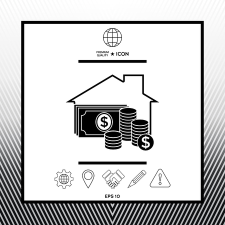 Home insurance icon in white square with black border, web app or icon. Premium quality icon illustration.
