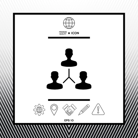 Human connection symbol in white square with black border, web app or icon. Premium quality icon illustration.