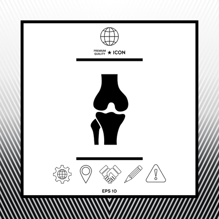 Knee joint icon in white square with black border, web app or icon. Premium quality icon illustration.