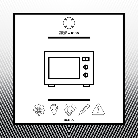 Microwave Oven linear icon Illustration