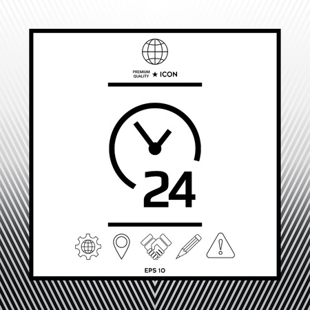 Open around the clock icon. Opening hours symbol icon in white square with black border, web app or icon. Premium quality icon illustration.