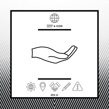 Open hand - line icon in white square with black border, web app or icon. Premium quality icon illustration.