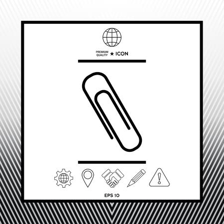 Paper clip icon in white square with black border, web app or icon. Premium quality icon illustration. 矢量图像