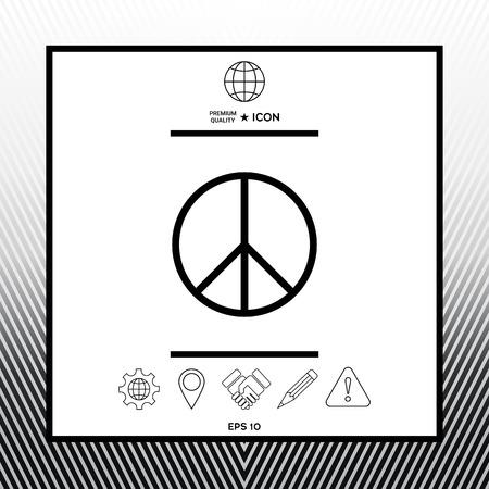 Peace sign symbol in white square with black border, web app or icon. Premium quality icon illustration. Illustration