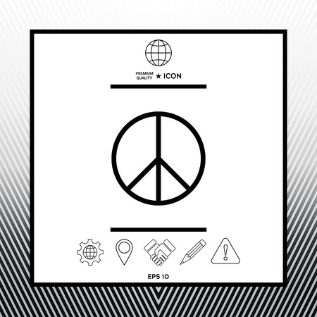 Peace sign symbol in white square with black border, web app or icon. Premium quality icon illustration. Stock Illustratie