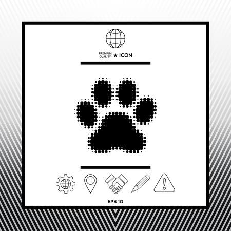 Paw  halftone icon design