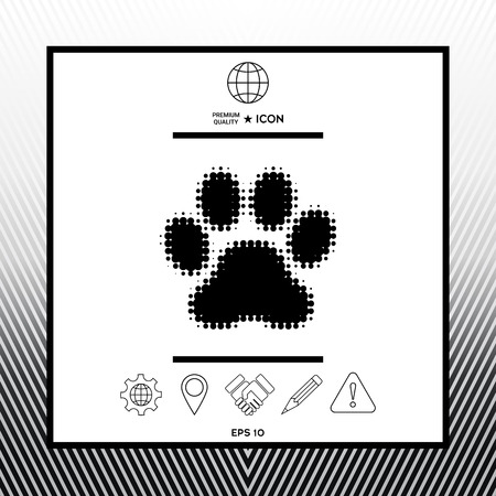 Paw  halftone icon design