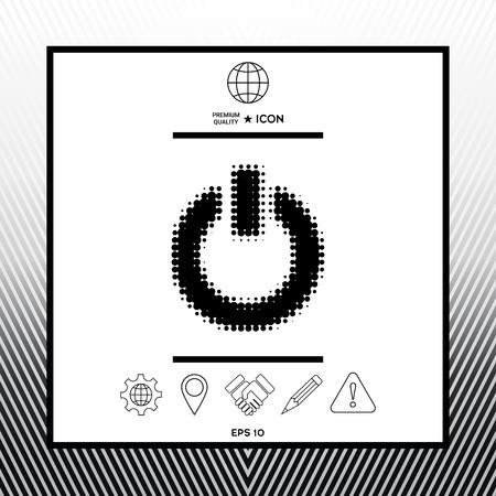 Power button - halftone icon design.