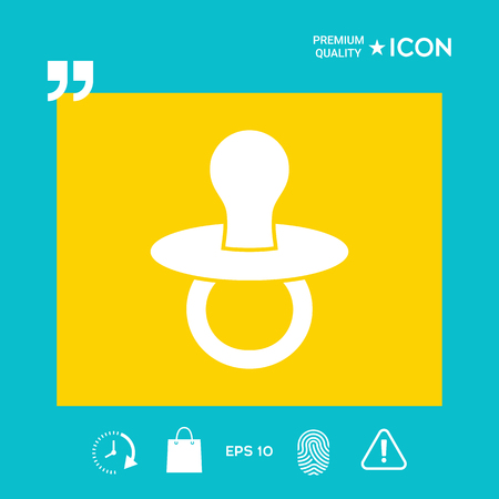 Baby pacifier - icon in yellow square on blue background with icon, app. Premium quality icon illustration.