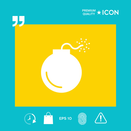 Bomb symbol icon in yellow square on blue background with icon, app. Premium quality icon illustration.