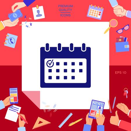 Calendar icon with check mark Vettoriali