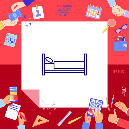 Bed line icon with hands working on red background.