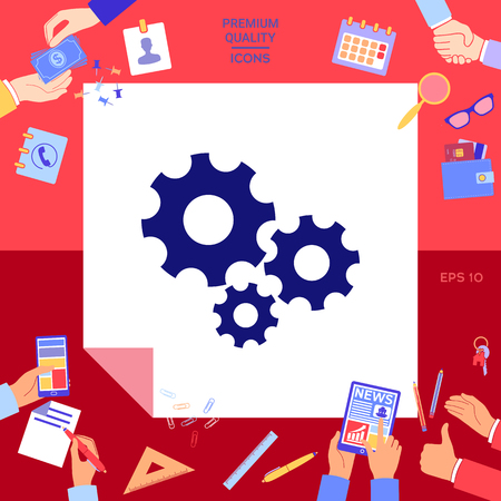 Gears wheel settings icon with hands working on red background. Stock fotó - 96591910