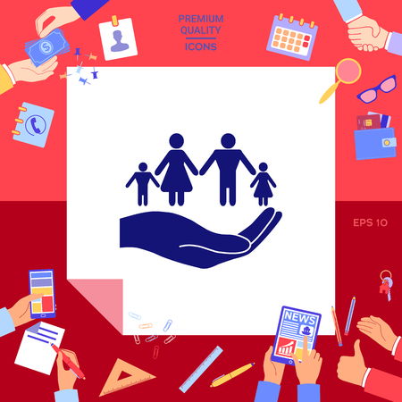 Hand holding a symbol of family. Family protect icon with hands working on red background.