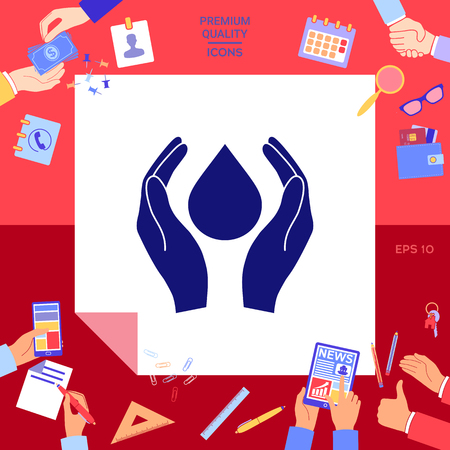 Hands holding drop protection symbol iconic design vector illustration