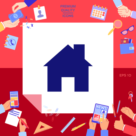 Home symbol icon with hands working on red background.