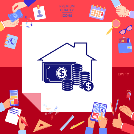 Home with money icon with hands working on red background. Illusztráció