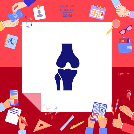 Knee joint icon with hands working on red background.