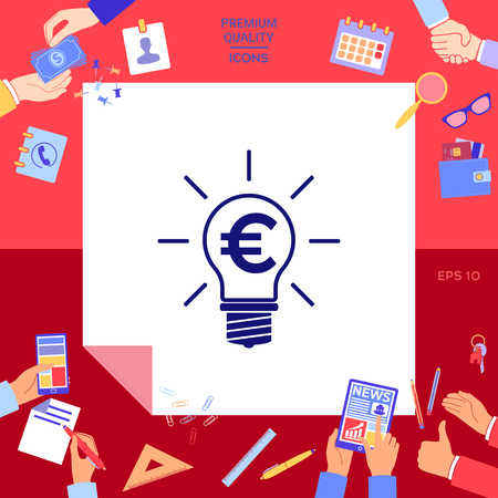 Light bulb with euro symbol business concept Vector illustration. Illustration