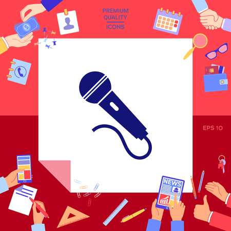 Microphone symbol icon Vector illustration.