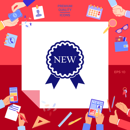 New offer icon with ribbons Vector illustration.
