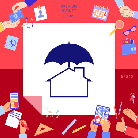 Security and protection icon. Home under umbrella Vector illustration. Illustration
