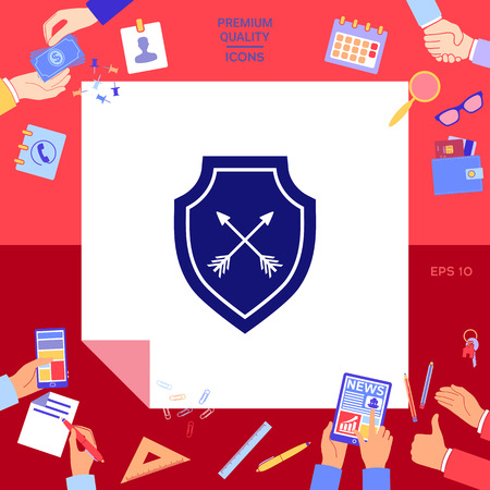 Shield with arrows. Protection icon Vector illustration.
