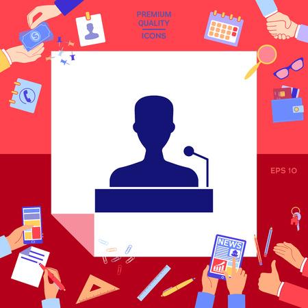 Speaker, orator speaking from tribune icon Vector illustration. Illustration