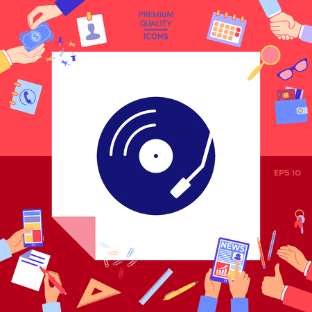 Vinyl record turntable icon vector illustration