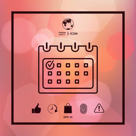 Calendar with Check mark- line icon