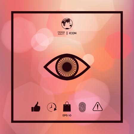 Eye symbol icon with iris Illustration