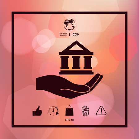 Hand holding bank icon. 矢量图像