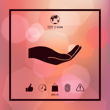 Open hand icon illustration. Illustration