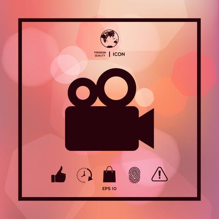 Movie camera icon. Illustration
