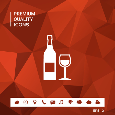 Bottle of wine and wineglass icon Vector illustration.