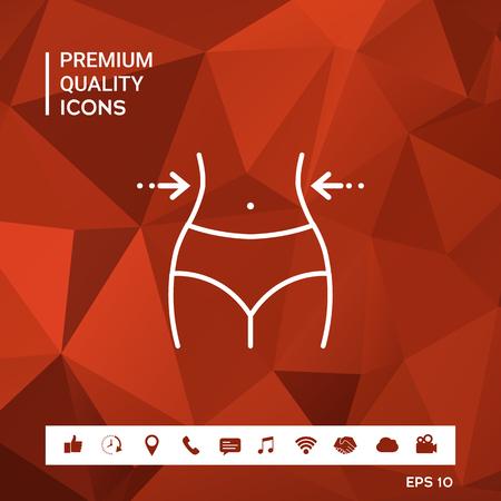 Women waist, weight loss, diet or waistline icon