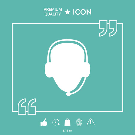 Operator in headset. Call center icon on green background. Vector illustration.