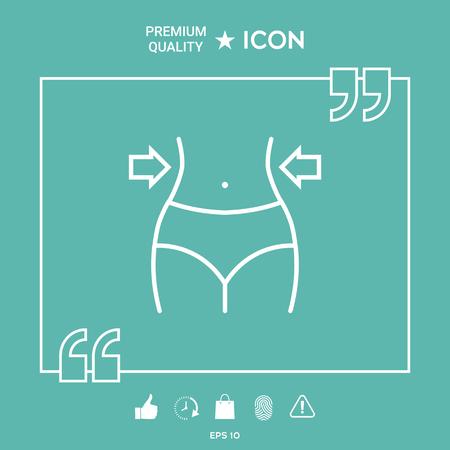 Woman's waist, weight loss, diet, waistline line icon on green background. Vector illustration. 矢量图像