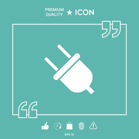 Plug icon on green background. Vector illustration.