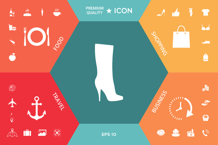 Women shoes icon, the modern silhouette. Menu item in the web design Illustration
