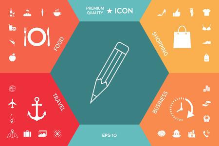 Pencil - linear icon 向量圖像