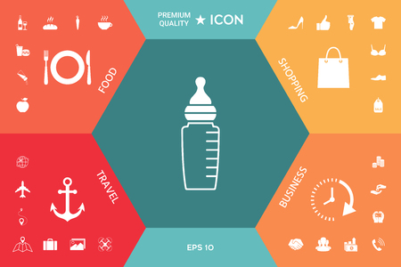 Baby feeding bottle icon. Element for your design