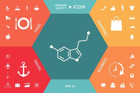 Chemical formula icon on a colorful presentation Ilustrace
