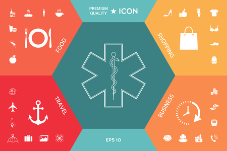 Medical symbol of the Emergency on a colorful presentation