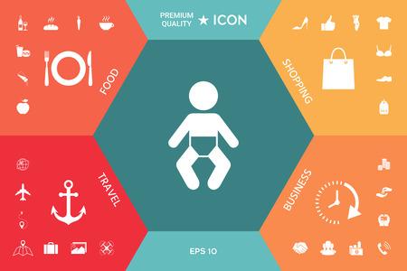 Baby symbol icon on a colorful presentation Illustration