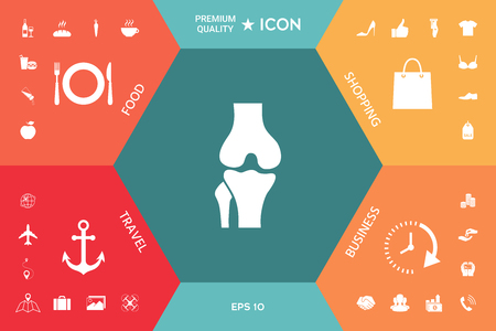 Knee joint icon on a colorful presentation