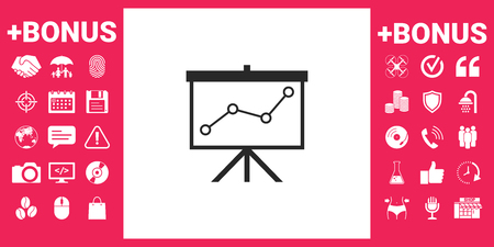 Flip-chart, projection screen with a graph. Vector illustration. 矢量图像