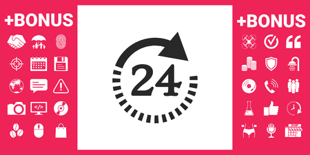 Open around the clock symbol icon. Opening hours symbol icon Vector illustration. 向量圖像